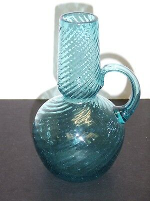 """Blown Turquoise Swirled Rib Handled 6-5/8"""" Pitcher Carafe Controlled Bubble"""