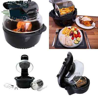 Ovation Black 1400W Halogen Oven Air Fryer with High & Low Rack, Rotisserie...
