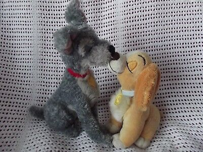 Disney Store 'kissing' Lady & The Tramp Plush Soft Toys - Collectable - Rare