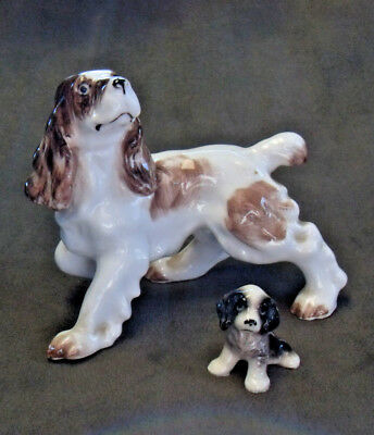 Two Bone China English Springer Spaniels Hagen Renaker & Unmarked