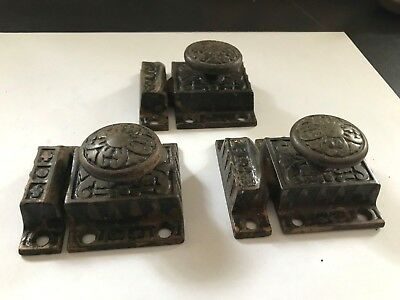 3 Old Cast Iron Art Craft Eastlake Victorian Cabinet Cupboard Door Latch Locks