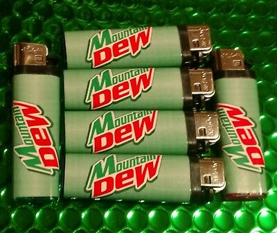 Mtn Dew Cigarette Lighters 6 pack of Mountain Dew logo Solar brand lighters