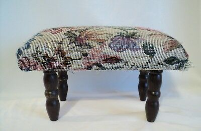 VTG Tapestry Needlepoint Cushion Small Square Foot Stool Rest Bench Victorian