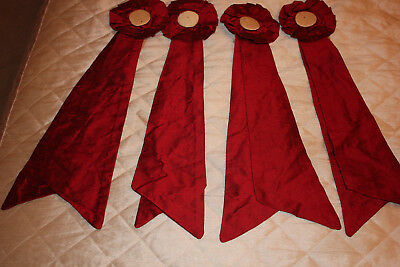 4 silk Rosettes red. Curtain/swags / upholstery.