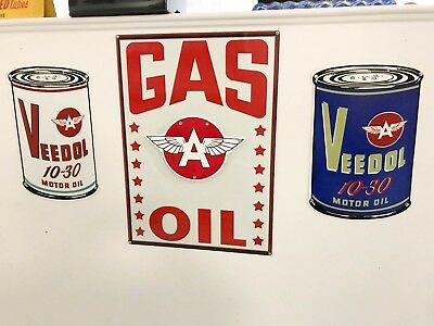 Set of 4 Veedol Flying A Gas And Oil Signs Garage Shop Man Cave Decor
