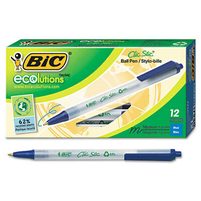 BIC Ecolutions Clic Stic Retractable Ballpoint Pen, Blue Ink, 1mm, Medium, Dozen