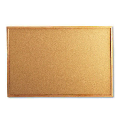 Universal Cork Board with Oak Style Frame, 36 x 24, Natural, Oak-Finished Frame