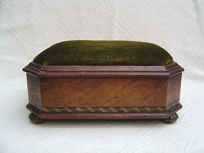 Antique Victorian Wooden Work / Sewing Box Footstool - Tunbridge Wear Inlay