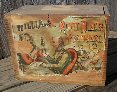 Antique William's Root Beer Extract Early Wooden Store Display Box Crate w/Label