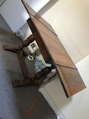 Antique wooden table extendable original wood dining table