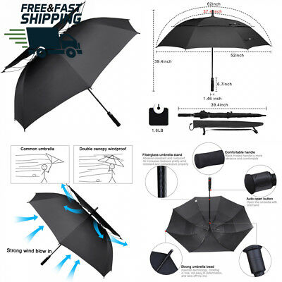 G4Free 62 Inch Windpoof Golf Umbrella Double Canopy Vented Large Waterproof...