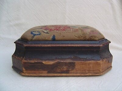 Antique Victorian Wooden Work / Sewing Box Footstool - Tapestry Top