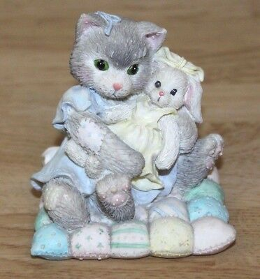 Calico Kittens Figurine You're So Huggable Kitty Cat Bunny Quilt #23563 Easter