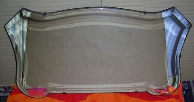1930's Wooden Backed Bevelled Edged Mirror - Approx 28 Inches Long x 15 Inches