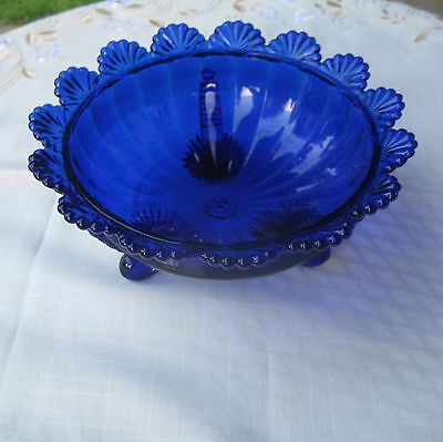 Blue Glass Bowl Mosser Bowl Marked  Footed Bowl
