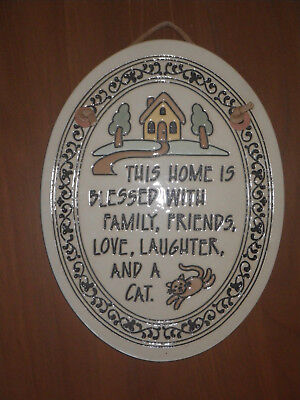 "Trinity Pottery ""Home Blessed Family Friends Love Laughter and CAT"" Plaque"