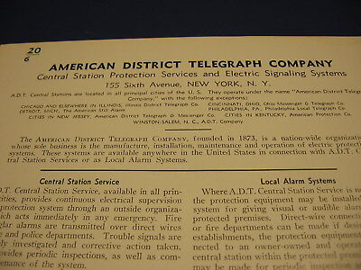 1939 American District Telegraph Co Catalog One Full Page