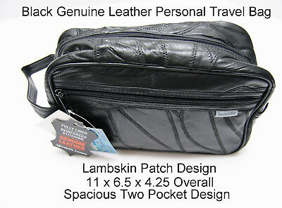 Leather Travel Bag Personal Toiletry Organizer Shaving Kit Accessory Pouch Black