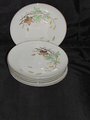 7 Halsey Swirling Leaves Bread & Butter Plates,  Japan Fine China Dinnerware