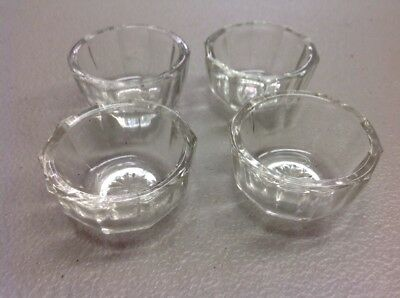 Vintage Antique Open Salt Cellar Dips Clear Crystal Glass Set of 4