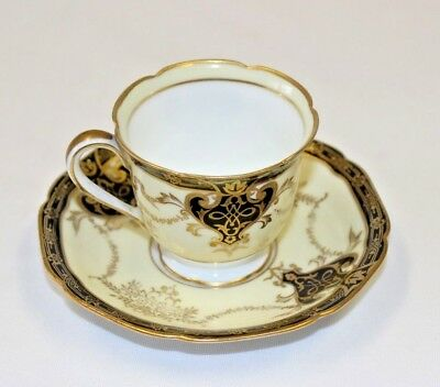 Vintage Noritake Nippon Cup and Saucer / Small Set Black & Gold with Yellow