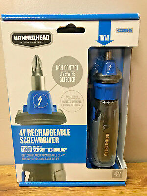 Hammerhead 4V Lithium Rechargeable Screwdriver W/ Patented Circuit Sensor New