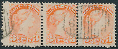 Canada #41 3c Small Queen Strip of 3, New Brunswick '3' Grid Cancel