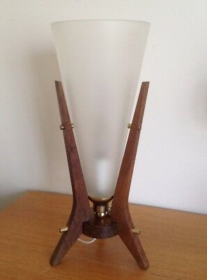 VINTAGE RETRO 70s DANISH / EAMES ERA WOODEN TEAK TABLE LAMP MID CENTURY