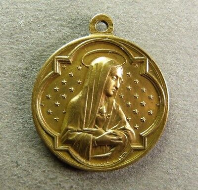 French Antique Religious Copper Pendant Medal Virgin Mary by L.PENIN 19th c