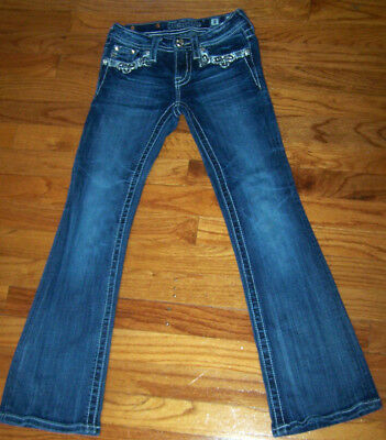 """Miss Me Girls Jeans Size 8 Lots Of Bling 20"""" Waist X 26"""" Long Excellent Euc"""