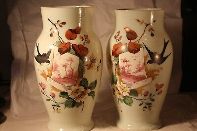 Vintage Pair of Early Bristol Vases with Birds 11 1/2""