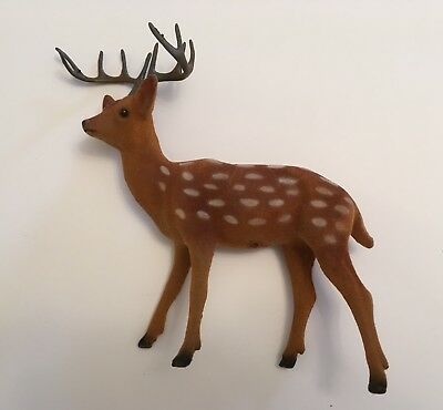 1 vintage Large flocked plastic buck deer 10 point stag very nice condition