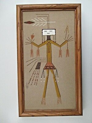 Vtg Authentic Navajo Sand Painting Framed Yei Healing Dancer Signed By Artist