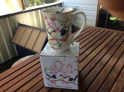 Fine Bone China Blue Wren Ceramic Mug 405cc Coffee Tea Cup Boxed Gift