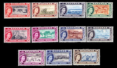 Bahamas 1954 Queen Elizabeth II Colonial Pictorial Set of 11 #158 - 168 Mint NH