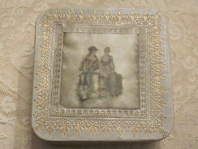 Antique Germany Leather+ Gold Trim Silk Box With Painted Figures On Silk Top