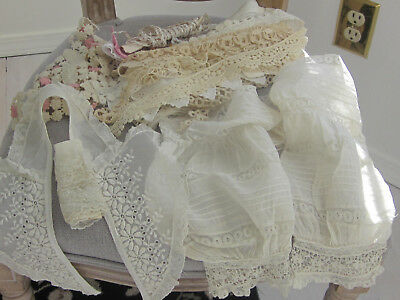 Beautiful Large Lot Of Antique Lace Includes French Sleeves Tatting For Dolls