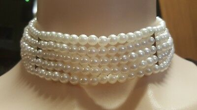 WOMENS VINTAGE gold & pearl multi-strand adjustable choker NECKLACE! LOVELY!