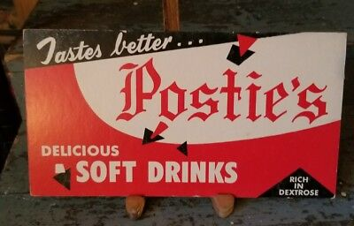 Orig Old POSTIE'S Soft Drinks Advertising Sign  Mcadoo Pa