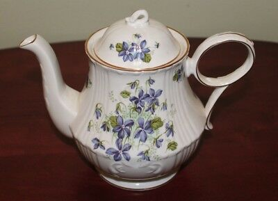 Vintage Royal Grafton England Fine Bone China Jacobean Violets Teapot