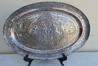 Antique Persian Silver Plate Or Low Grade Silver Platter Nr