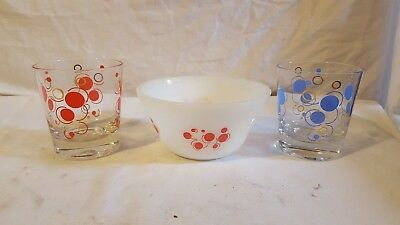 "Federal Glass Atomic Polka Dot Mixing Bowl Red 5"" And 2 Low Ball Glass Tumblers"