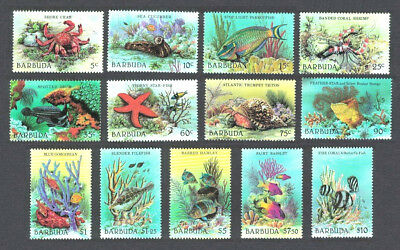 Marine Sea Life Barbuda 1987 Set of 13 # 877 - 889 Mint NH Complete $13.10 Value