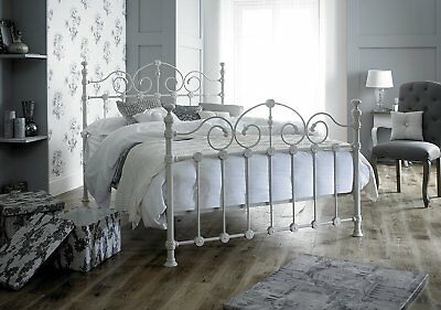 Victorian French Style Kingsize 5ft Cream Metal Bed Frame Shabby Chic Antique