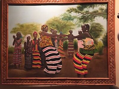 African Art Village Celebration Signed Oil on Canvas Painting Large 4'x3'