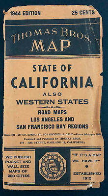 1944 Thomas Bros Map California Western States Road Maps Los Angeles Bay Regions