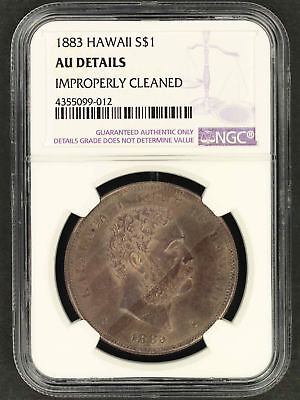 1883 Kingdom of Hawaii Silver Dollar NGC AU Details Improperly Cleaned -156998
