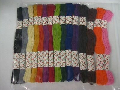 15 Skeins Different Colour Stranded Cotton Embroidery Thread Floss LOT D Craft