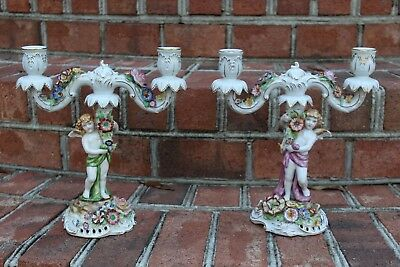 Marked Schierholz Pair Double Candle Holders Sticks Porcelain Candelabra Antique