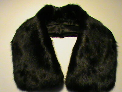 Real genuine mink fur black collar satin lining detachable classic wrap NWOT